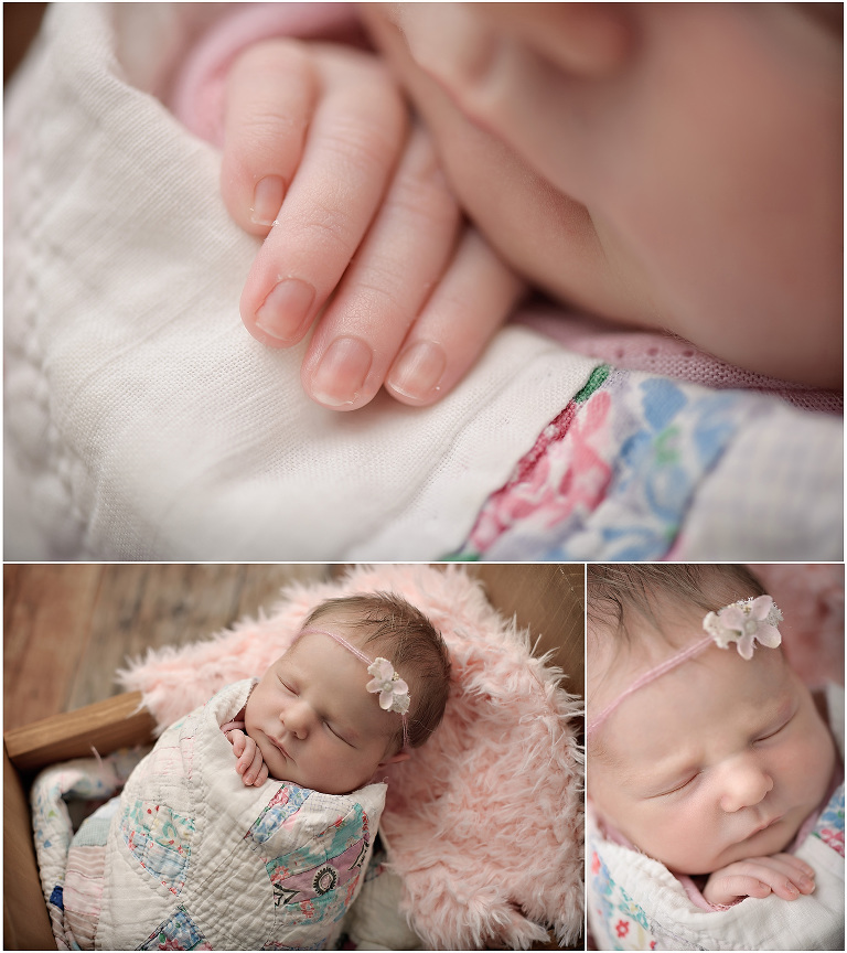 Macro newborn details of fingers and face of sweetest newborn baby girl