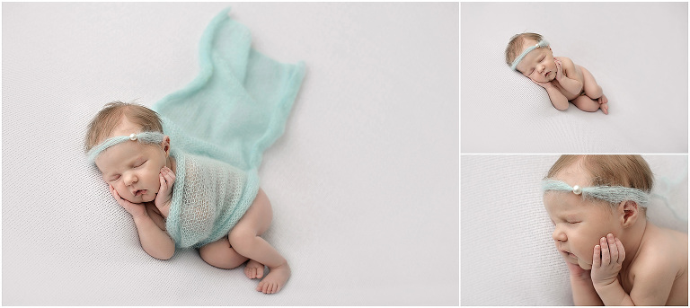 Newborn girl wrapped in mint angora wrap and headband with pearl