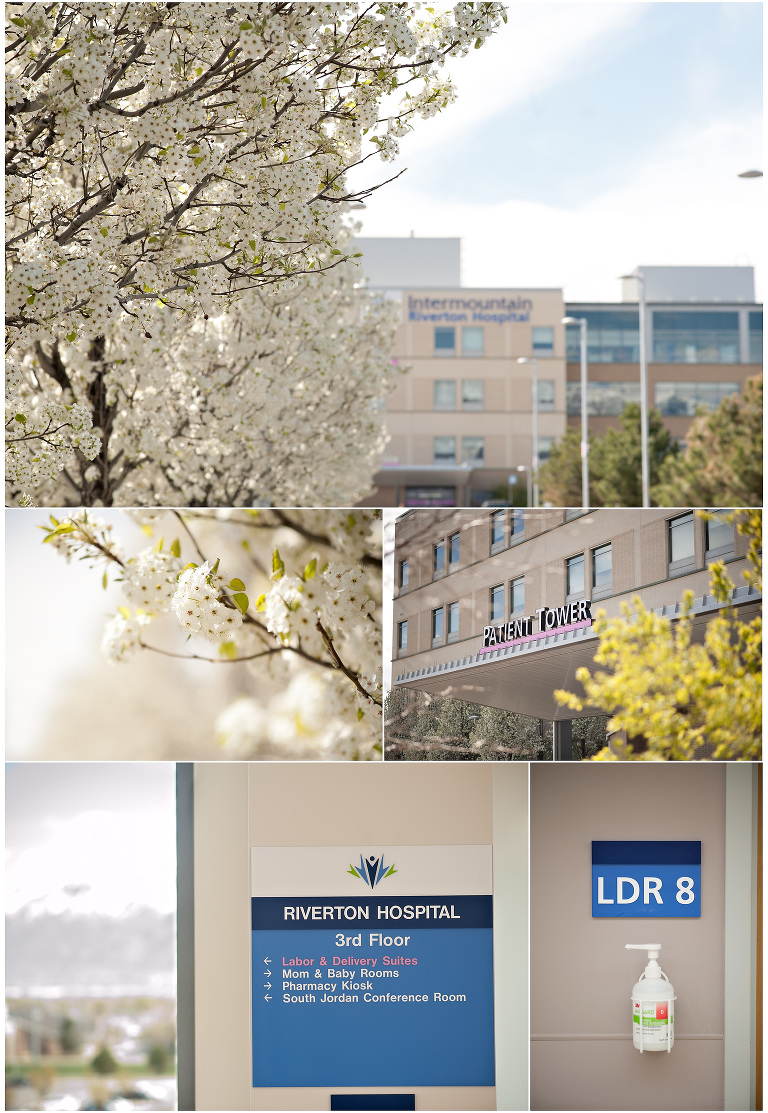 Utah Birth Photography at Riverton Hospital beautiful spring day with trees in bloom