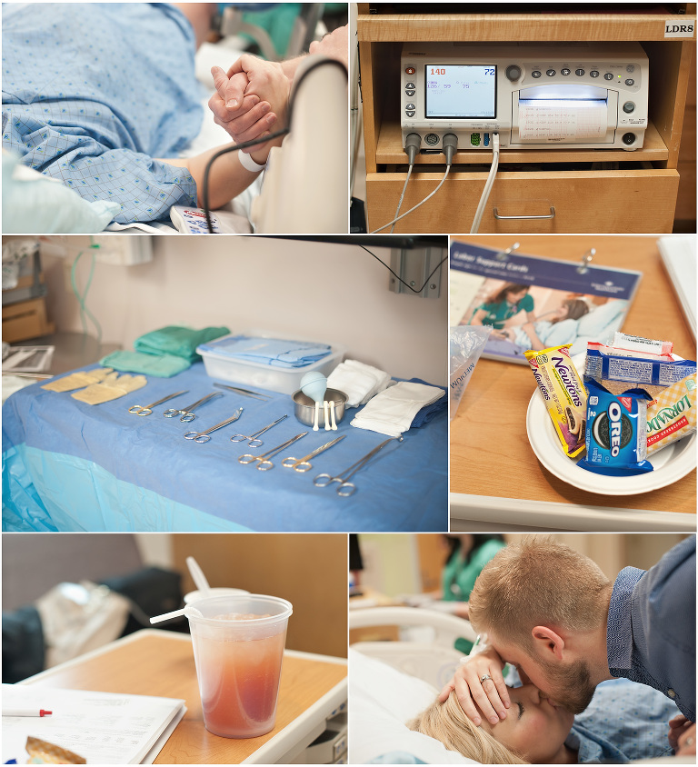 Riverton Birth Photography all the details at the hospital. Cookies, juice, monitors, and anticipation.