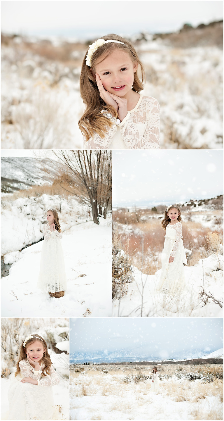 8 year old girl in white LDS baptism dress outdoor session in the snow