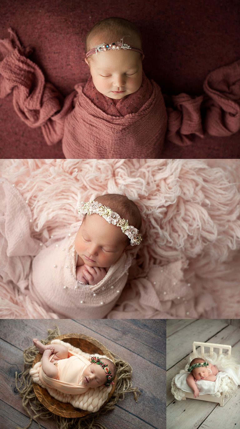 Newborn baby in potato sack pose. Cute baby girl posed in tiny bed.