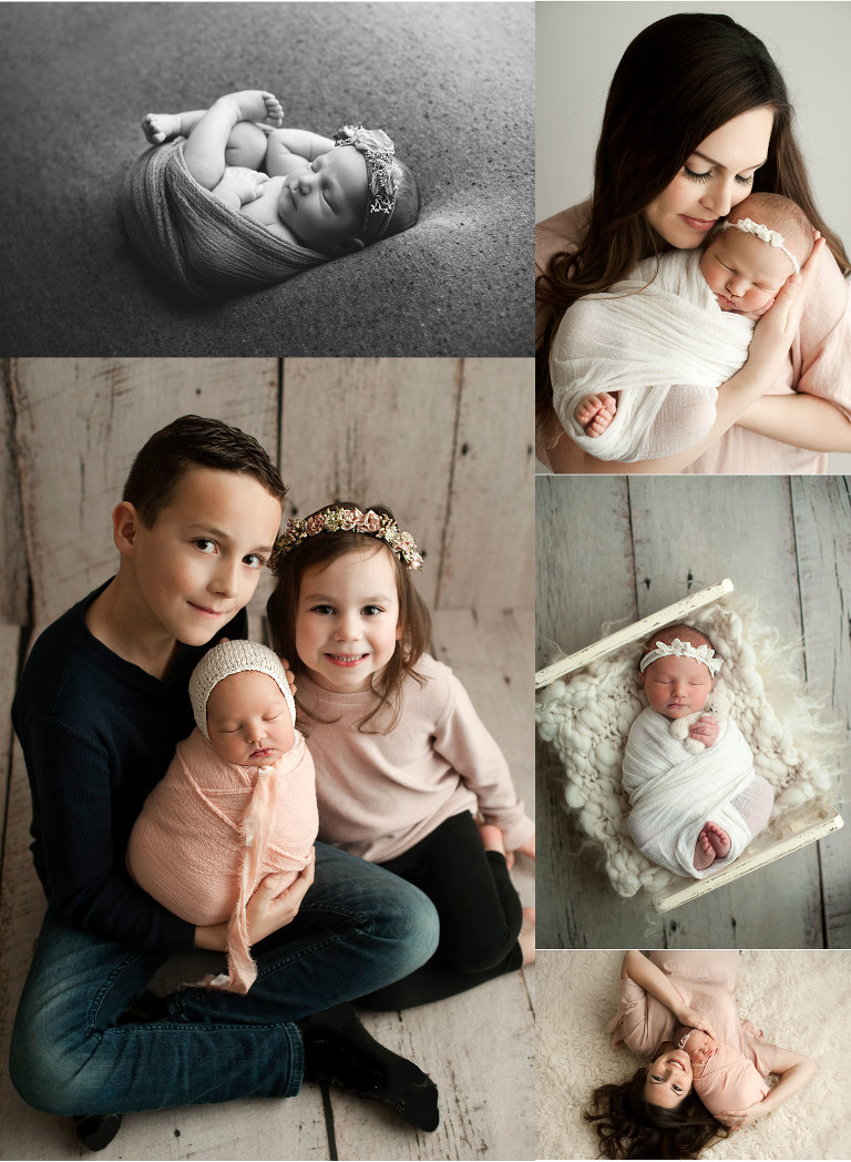 Newborn baby girl posed with mom and siblings. Black and white newborn images.